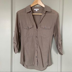 James Perse Button Down Shirt in Army Green
